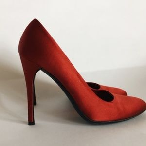 PRADA Ruby Red Satin Pumps Sz 37